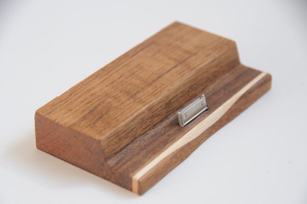 Ipad dock made of teak and birch